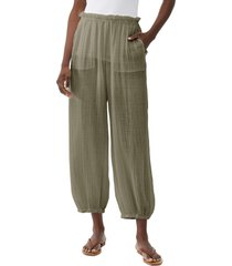 michael stars elsa relaxed crop joggers, size large in olive at nordstrom