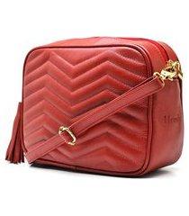 bolsa couro hendy bag pespontos vermelha