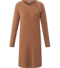gebreide jurk van 100% kasjmier met raglanmouwen van include bruin