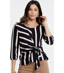 blusa feminina listrada tiras amarração manga longa marisa