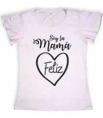 camiseta color rosado con texto estampado
