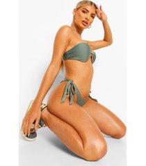 essentials hipster bikini broekje met zijstrikjes, salie
