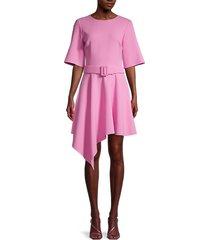 oscar de la renta women's belted asymmetric dress - begonia - size 8