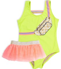 girl's shade critters citron fanny pack one-piece swimsuit & tulle skirt set