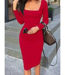 red square neck long sleeves bodycon midi dress
