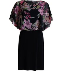 connected floral-print caped a-line chiffon dress