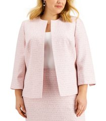 kasper plus size open-front tweed jacket