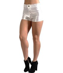 badassleggings women's high waisted disco shorts extra small white