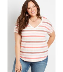 maurices plus size womens 24/7 pink stripe drop shoulder classic tee