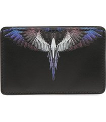 marcelo burlon county of milan wings leather cardholder - black