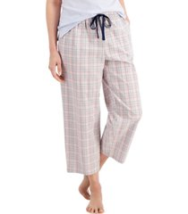 charter club cotton woven cropped pajama pants, created for macy's