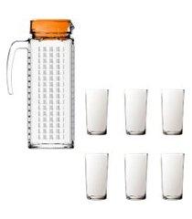 kit 1 jarra de vidro ladrilhos laranja e 6 copos de vidro long sture móveis