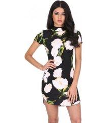 ax paris floral print high neck mini dress