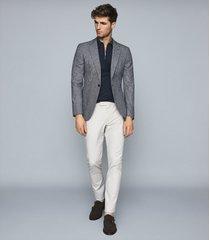 reiss maxwell - merino zip neck polo shirt in petrol, mens, size xxl