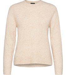 5210 - marta round neck stickad tröja beige sand