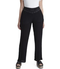 pantalon palazo con bordado negro curvi
