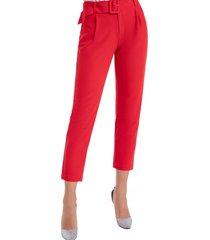 pantalón cinturón cropped rojo nicopoly