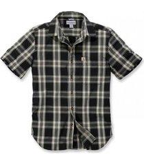 carhartt blouse men s/s essential open collar shirt plaid black-xl