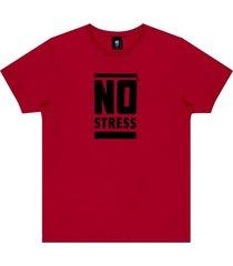 camiseta estampa frontal logo no stress vermelha - kanui
