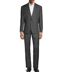 lauren ralph lauren men's standard-fit windowpane-print wool suit - grey - size 42 r