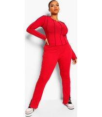 plus geribbelde broek met zijsplit, dark red