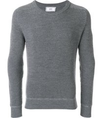 ami crew neck elbow patches fisherman's rib sweater - grey