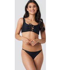 na-kd swimwear thin strap ribbed bikini panty - black
