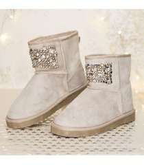 botas de invierno para mujer, forro peluche sintetico beige