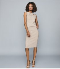 reiss claudine - draped knitted dress in neutral, womens, size xl