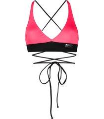 diesel cross strap bikini top - black