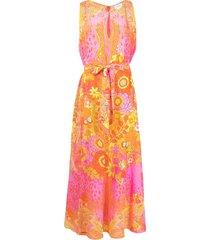 camilla abstract-print silk jumpsuit - orange