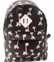 mochila real arte girafas preto