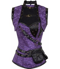gothic steampunk purple floral jacquard steel boned corset with pouch belt