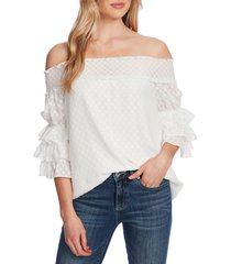 women's cece off the shoulder clip dot blouse