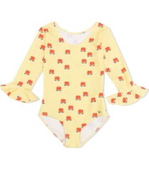 bobo choses chocolate flowers print swimsuit - yellow