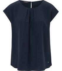 blouse 100% zijde aangeknipte mouwen van basler blauw