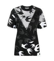 mcq swallow camiseta com estampa de pássaros - preto