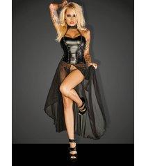 noir handmade wetlook jurk gun met lange tulle sleep