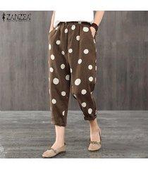 zanzea elástico de las mujeres de la cintura midi pantalones ocasionales de los lunares flojo holgado pantalón plus -café