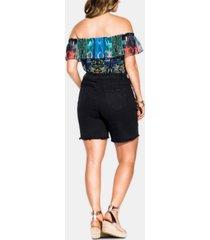city chic trendy plus size ripped denim shorts
