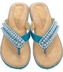 sandalias antideslizantes con punta de clip de diamantes de moda para mujer-azul