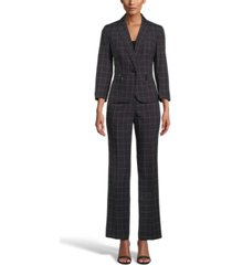 le suit windowpane check one-button pantsuit