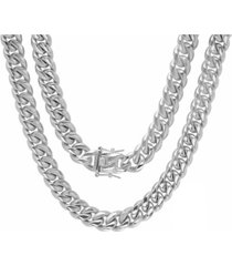 """steeltime men's stainless steel 24"""" miami cuban link chain with 12mm box clasp necklaces"""