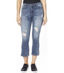 juniors' high rise cropped flare jeans