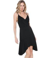 vestido curto canal tiras alfaiataria preto