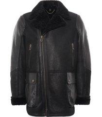 belstaff dennison jacket rugged waxed shearling | black | 71050551-blk