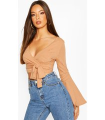 cropped rib flare sleeve top, camel