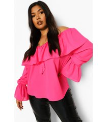 plus off shoulder blouse met ruches en wijd uitlopende mouwen, hot pink