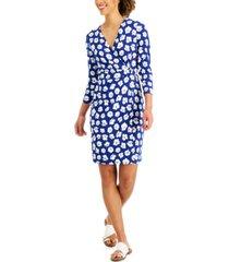 anne klein signature floral-print wrap dress