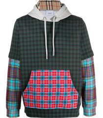 burberry check panelled hoodie - green